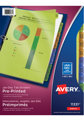 Avery<sup>®</sup> Durable Preprinted Plastic Dividers - Avery<sup>®</sup> Durable Preprinted Plastic Dividers