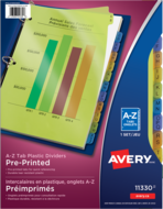 Avery<sup>&reg;</sup> Durable Preprinted Plastic Dividers 11330