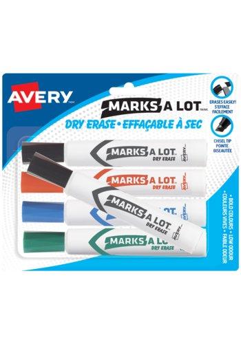 Marks-A-Lot® 86705 - Marqueurs Effaçable à sec Modèle Bureau, Assortis (2 Noir, Bleu, Vert, Rouge)