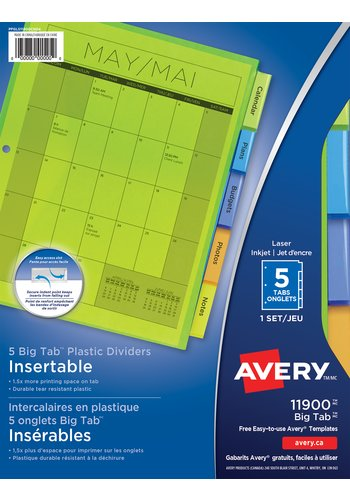Avery Insertable Plastic Dividers, 11900, 9-1/4in. x 11-1/8in., Multi-colour