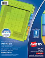 Avery<sup>®</sup> Insertable Big Tab™ Plastic Dividers 11900