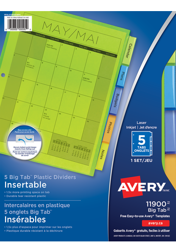 Avery<sup>®</sup> Intercalaires en plastique insérables Big Tab<sup>MC</sup>pour imprimantes à laser ou jet d'encre - Avery<sup>®</sup> Intercalaires en plastique insérables Big Tab<sup>MC</sup>