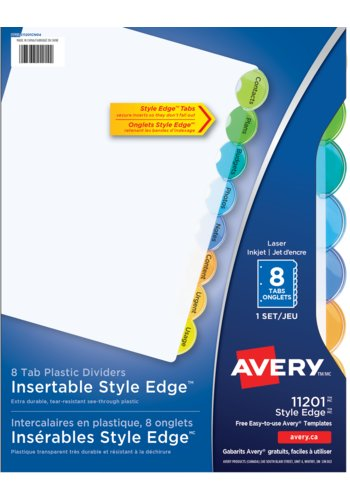 Avery Style Edge Plastic Insertable Dividers, 8 Tabs, 11201, Multi-colour