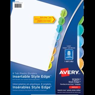 Avery® Intercalaires en plastique Insérables Style EdgeMC