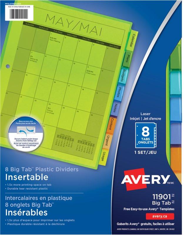 Avery Insertable Plastic Dividers 11901 9 14 X 11 18 Multi