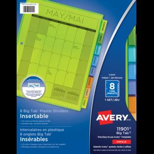 Avery® Intercalaires en plastique Insérables Big TabMC