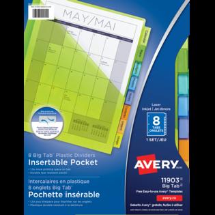Avery® Intercalaires en plastique Pochette Insérables Big TabMC