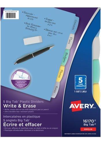 Avery® 16170 - Intercalaires en plastique Durable et Marquables,  8-1/2in. x 11in., Multi-couleur