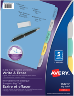 Avery<sup>®</sup> Big Tab™ Write & Erase Plastic Dividers 16170