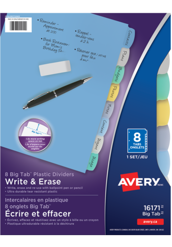 Avery<sup>&reg;</sup> Big Tab&trade; Write &amp; Erase Plastic Dividers - Avery<sup>&reg;</sup> Big Tab&trade; Write &amp; Erase Plastic Dividers