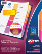 Avery<sup>&reg;</sup> Ready Index&reg; Table of Content Dividers Plain Tab 11518