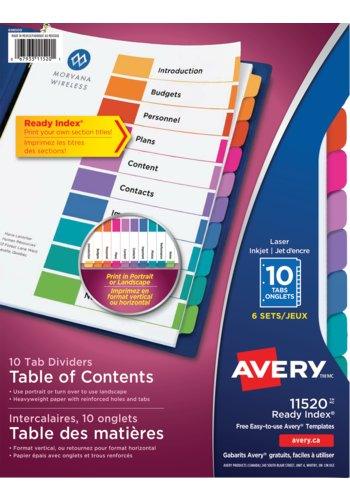 Avery® 11520 - Ready Index® Table of Content Dividers ,  8-1/2in. x 11in., Multi-colour
