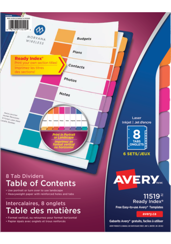 Avery<sup>®</sup> Ready Index® Table of Content Dividers Plain Tab - Avery<sup>®</sup> Ready Index® Table of Content Dividers