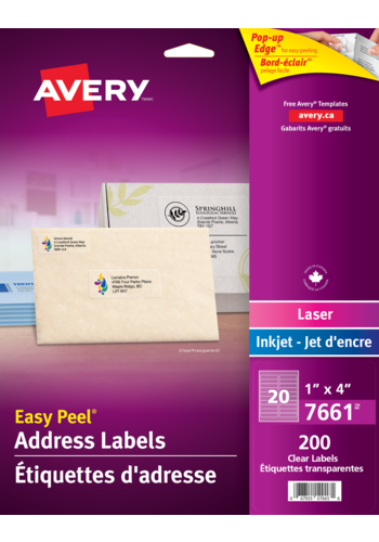 Avery<sup>&reg;</sup> Clear Address Labels with Easy Peel<sup>&reg;</sup> - Avery<sup>&reg;</sup> Clear Address Labels
