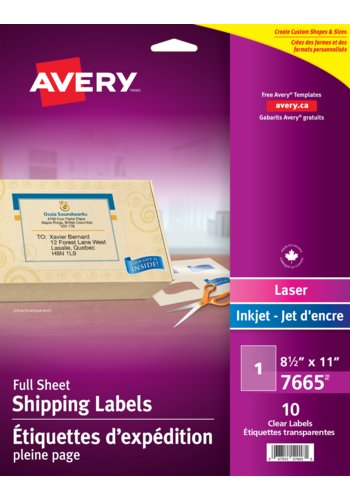 Avery Glossy Clear Shipping Labels, 7665, 8-1/2in. x 11in., Rectangle