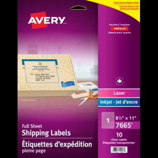 Avery® Étiquettes d'expédition transparentes