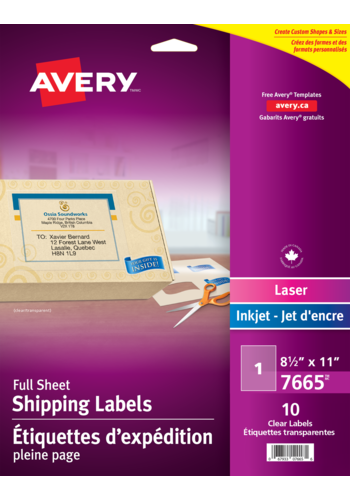 Avery<sup>&reg;</sup> Clear Shipping Labels - Avery<sup>&reg;</sup> Clear Shipping Labels