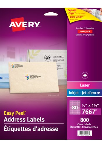 Avery® 7667 - Clear Address Labels ,  1/2in. x 1-3/4in., Rectangle, Glossy Clear