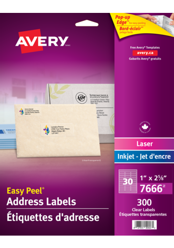 Avery<sup>®</sup> Clear Address Labels with Easy Peel<sup>®</sup> - Avery<sup>®</sup> Clear Address Labels
