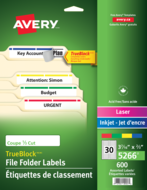 Avery<sup>&reg;</sup> Filing Labels with TrueBlock&trade; Technology 5266