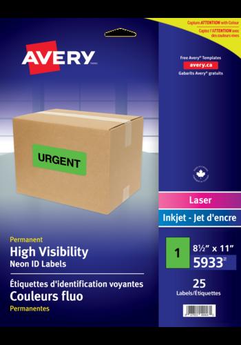 Avery<sup>®</sup> Étiquettes d'identification voyantes couleurs fluo - Avery<sup>®</sup> Étiquettes d'identification voyantes couleurs fluo