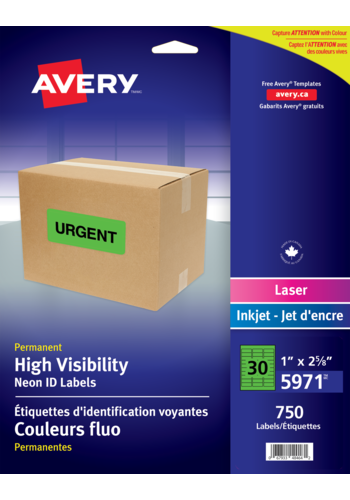Avery<sup>&reg;</sup> High Visibility Neon ID Labels - Avery<sup>&reg;</sup> High Visibility Labels