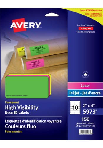 Avery<sup>&reg;</sup> High Visibility Neon ID Labels - Avery<sup>&reg;</sup> High Visibility Neon ID Labels
