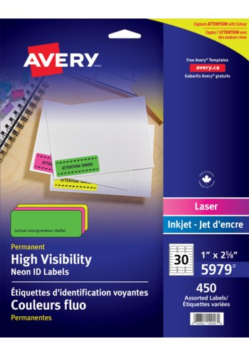 Avery High Visibility Neon ID Labels,5979,1in. x 2-5/8in.,Rectangle,Assorted