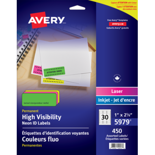 Avery® High Visibility Neon ID Labels