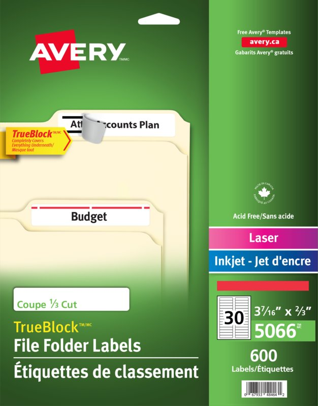 Avery 05066 Filing Labels 3 716 X 23 Rectangle Red
