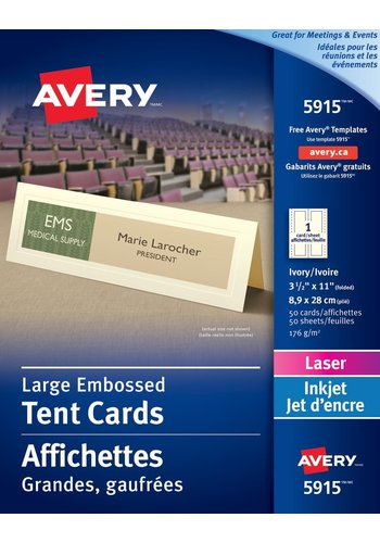 Avery<sup>®</sup> Large Embossed Tent Cards - Avery<sup>®</sup> Large Embossed Tent Cards