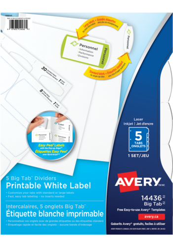Avery<sup>®</sup> Big Tab<sup>TM</sup> Printable White Label Dividers with Easy Peel Labels - Avery<sup>®</sup> Big Tab<sup>TM</sup> Printable White Label Dividers