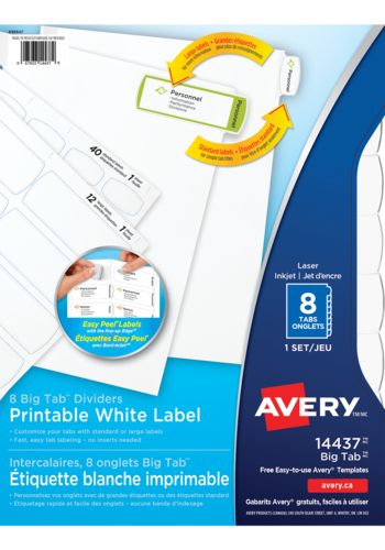 Avery<sup>®</sup>  Big Tab<sup>™</sup> Printable White Label Dividers with Easy Peel Labels - Avery<sup>®</sup>  Big Tab<sup>™</sup> Printable White Label Dividers