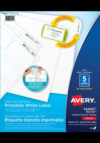 Avery<sup>®</sup> Index Maker Intercalaires avec bande d'étiquettes transparentes Easy Apply<sup>MC</sup> pour imprimantes à laser ou jet d'encre - Avery<sup>®</sup> Intercalaires à Big Tab<sup>MC</sup> avec les étiquettes blanches imprimables