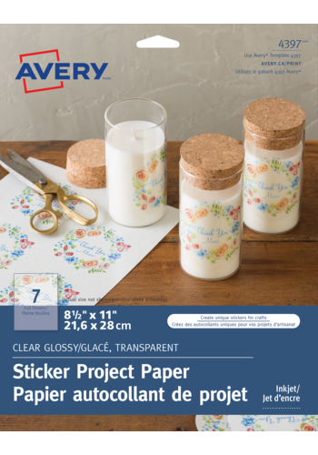 Avery<sup>®</sup> Glossy Clear Sticker Project Paper - Avery<sup>®</sup> Glossy Clear Sticker Project Paper