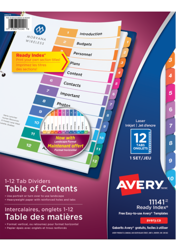 Avery<sup>&reg;</sup> Ready Index<sup>&reg;</sup> Table of Content Dividers - Avery<sup>&reg;</sup> Ready Index<sup>&reg;</sup> Table of Content Dividers