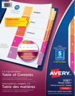 Avery<sup>&reg;</sup> Ready Index&reg; Table of Content Dividers 11187