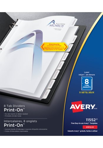 Avery® 11552 - Print-On® Dividers ,  8-1/2in. x 11in., White
