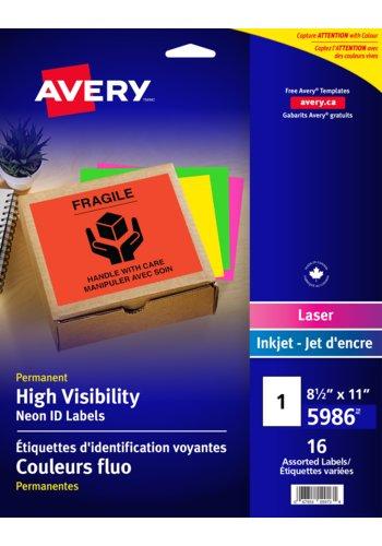 Avery® 5986 - Étiquettes d'identification voyantes couleurs fluo pour imprimantes à laser et jet d'encre,  8-1/2in. x 11in., Rectangulaire