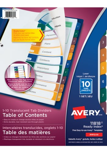 Avery® 11818 - Ready Index® Translucent Table of Content Dividers ,  8-1/2in. x 11in., Multi-colour