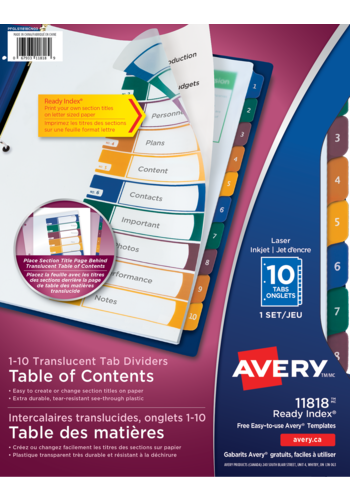 Avery<sup>®</sup> Ready Index<sup>®</sup> Translucent Table of Content Dividers - Avery<sup>®</sup> Ready Index<sup>®</sup> Translucent Table of Content Dividers