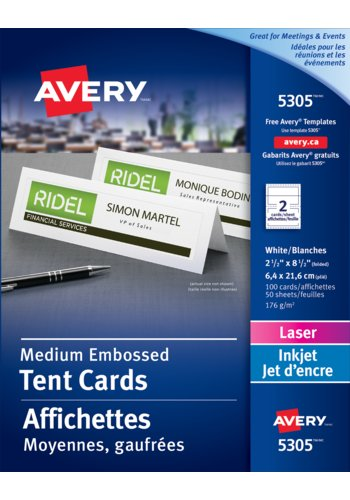 Avery® 5305 - Medium Tent Cards ,  2-1/2in. x 8-1/2in., White