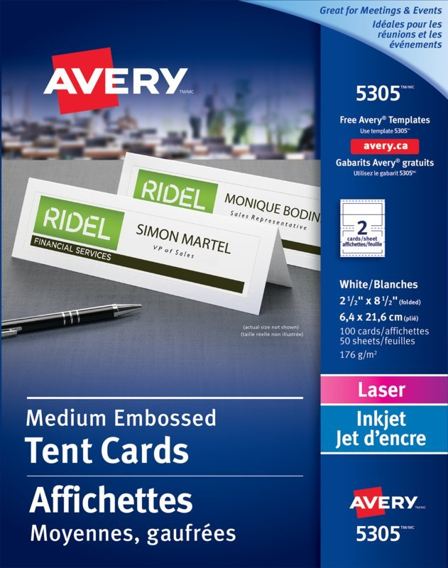 Avery 5305 Medium Tent Cards 2 12 X 8 12 White