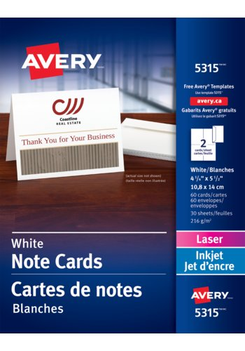 Avery® 05315 - Note Cards ,  4-1/4in. x 5-1/2in., White
