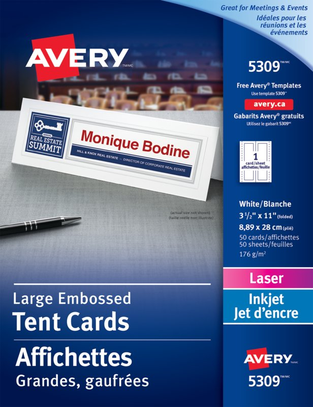 Avery 05309 Large Tent Cards 3 12 X 11 White