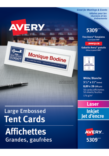 Avery® 05309 - Large Tent Cards , 3-1/2\