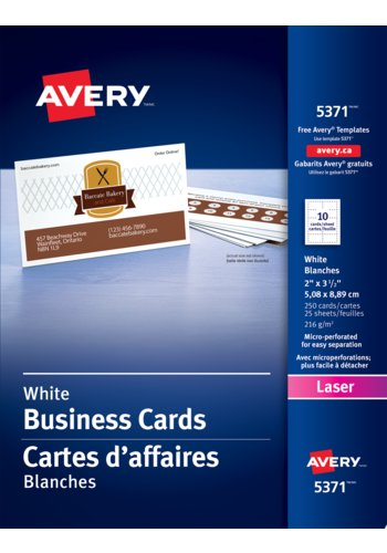 Avery® 05371 - Perforated Business Cards ,  2in. x 3-1/2in., Rectangle, White