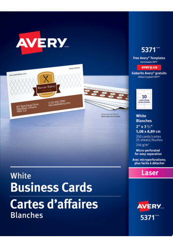 Avery<sup>&reg;</sup> Cartes d'affaires perforées pour imprimantes à laser - Avery<sup>&reg;</sup> Cartes d'affaires perforées