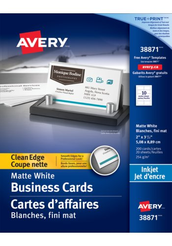 Avery® 38871 - Carte d'affaires à coupe nette ,  2in. x 3-1/2in., Rectangulaire, Blanc