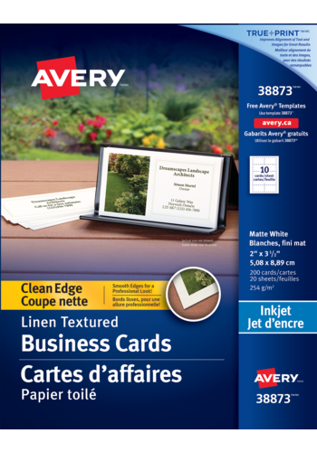 Avery<sup>®</sup> Cartes d'affaires à coupe nette pour imprimantes à jet d'encre - Avery<sup>®</sup> Cartes d'affaires à coupe nette